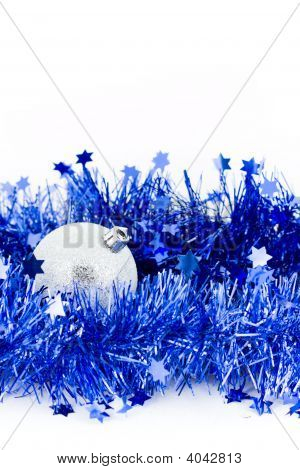 Navidad azul de plata Bals en oropel marco Vertical