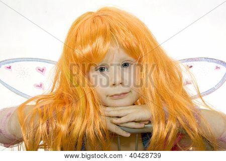 Girl In Fancy Dress And A Wig