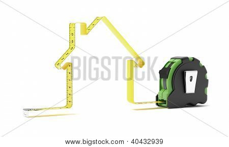 Tape measure in the shape of a house