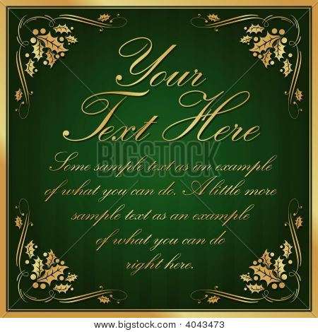 Green Exotic Holly Cornered Label Background