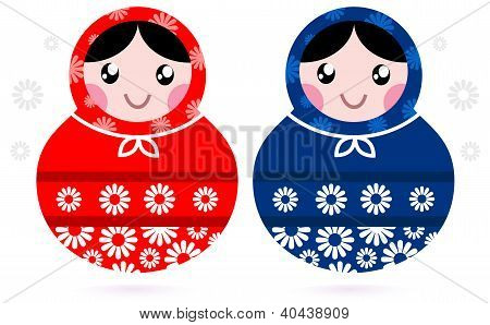 Cute Russian Matreshka Dolls - Red And Blue
