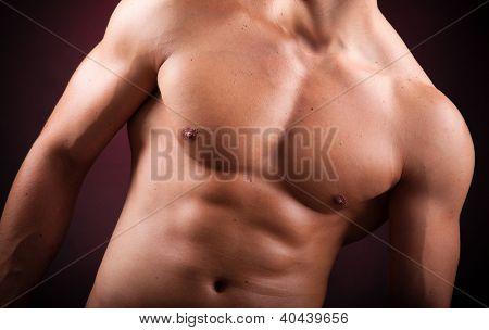 torso a handsome athletic man on black background