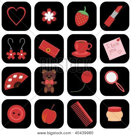set of icons with lady's objects