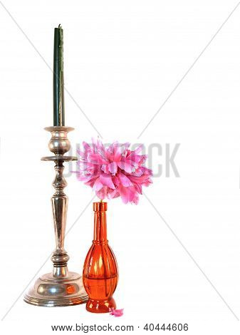 Candle And Pink Flower Decor