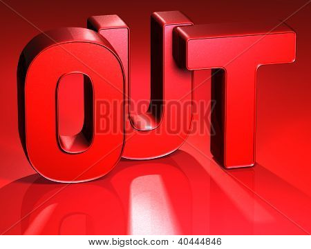 3D Word Out On Red Background