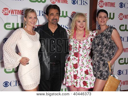 LOS ANGELES - AUG 03:  Criminal Minds cast, AJ COOK, JOE MANTEGNA, KIRSTEN VANGSNESS &  PAGET BREWSTER at the TCA Party 2011 - CBS / SHOWTIME / CW   on August 03, 2011 in Beverly Hills, CA