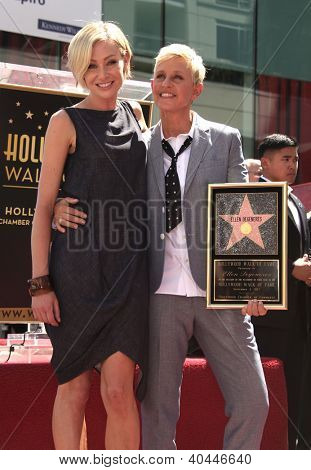 LOS ANGELES - AUG 03:  Ellen Degeneres & Portia De Rossi arriving to Walk of Fame - ELLEN DEGENERES  on August 03, 2012 in Hollywood, CA