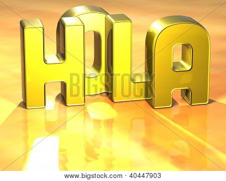 3D Word Hello In Spanish Language On Yellow Background