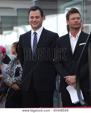 LOS ANGELES - AUG 03:  Ryan Seacrest & Jimmy Kimmel arriving to Walk of Fame - ELLEN DEGENERES  on August 03, 2012 in Hollywood, CA