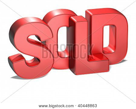 3D Word Sold On White Background