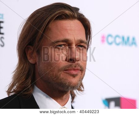 LOS ANGELES - JAN 12:  BRAD PITT arriving to Critic's Choice Movie Awards 2012  on January 12, 2012 in Hollywood, CA