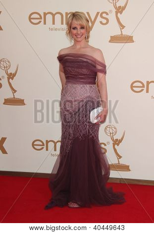 LOS ANGELES - AUG 11:  MELISSA RAUCH arriving to Emmy Awards 2011  on August 11, 2012 in Los Angeles, CA