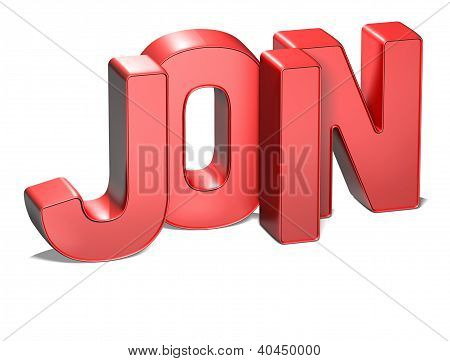3D Word Join On White Background