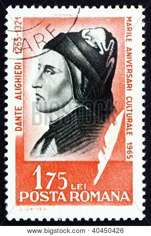 Postage stamp Romania 1965 Dante Alighieri, Italian Poet