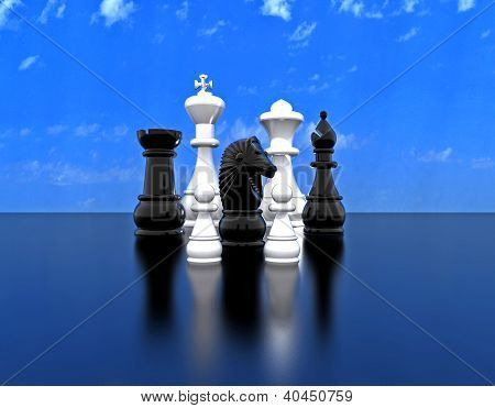 Chess major whites and blacks - 3D