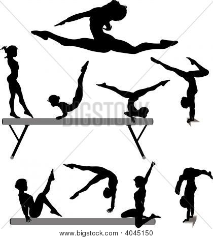 Female Gymnast Silhouette Balance Beam Gymnastics Exercises