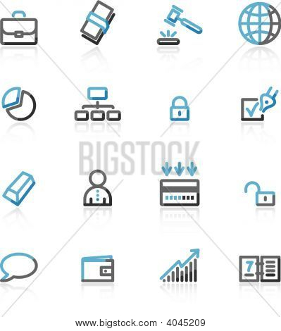 Blue And Grey Contour Business Web Icons