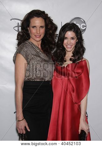LOS ANGELES - JAN 10:  ANDIE MacDOWELL & ERICA DASHER ABC All Star Winter TCA Party 2012  on January 10, 2012 in Pasadena, CA