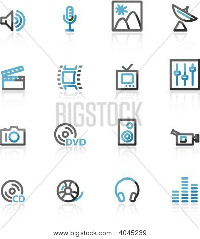 Blue And Grey Contour Media Web Icons