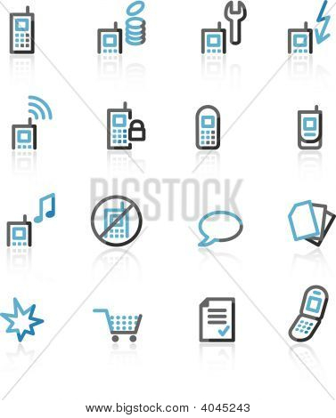 Blue And Grey Contour Mobile Phone Web Icons