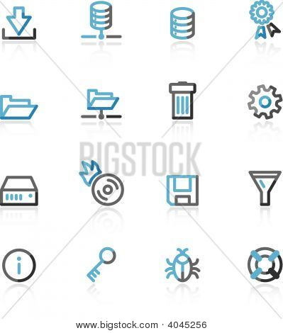 Blue And Grey Contour Server Web Icons