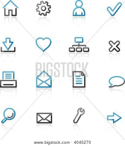 Blue And Grey Contour Basic Web Icons