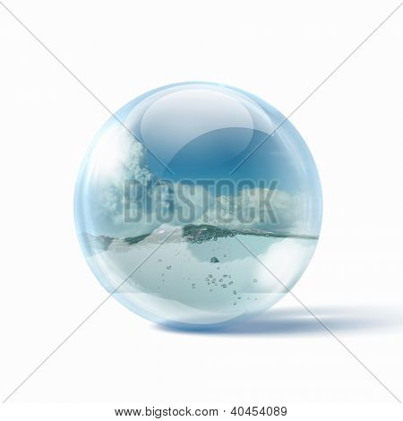 Beautiful Blue Ocean Wave inside a glass sphere