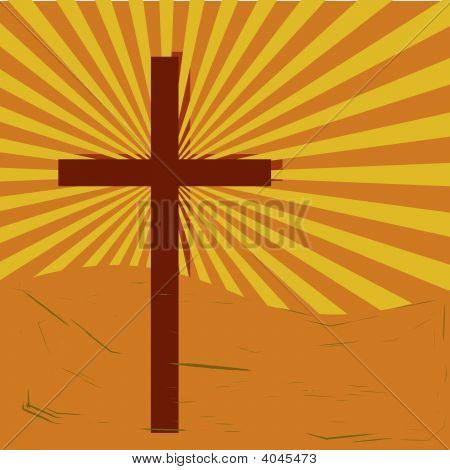 Grunge Cross Sunburst