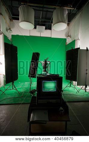 A green screen studio ready to shoot