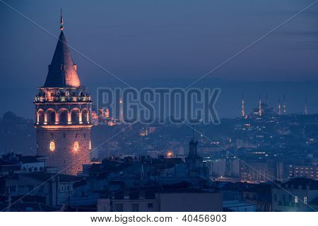 Galata Tower and The Blue Mosque in Istanbul Turkey