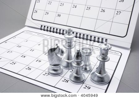 Chess Pieces On Calendar