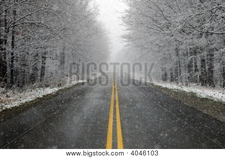 First Snowfall On A Country Road