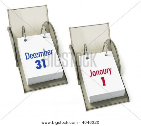 Desk Calendars On Isolated White Background