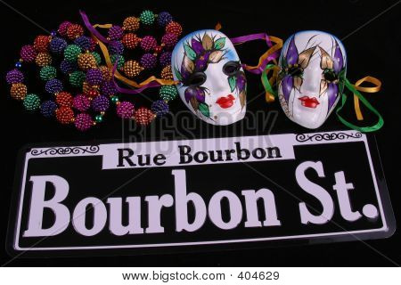 Two Masks, Beads & Bourbon Street