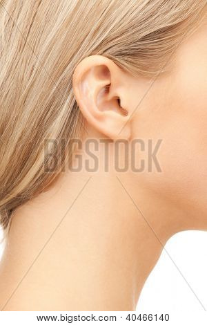 bright closeup picture of woman's ear