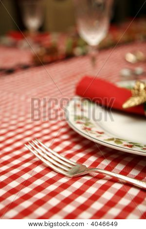 Christmas Table Napkin, Plate And Fork