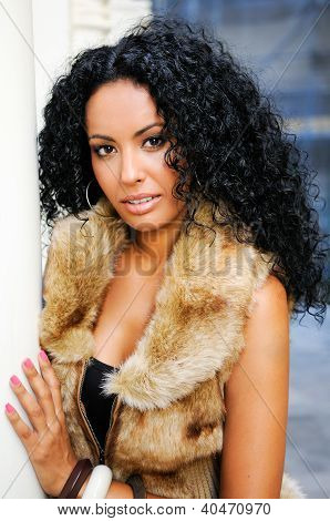 Young Black Woman, Model Of Fashion, Wearing Fur Vest