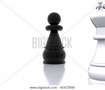 Pawn against King - 3D