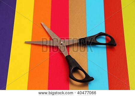 Scissors On Colored Cardboard.