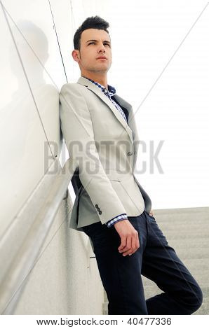 Young Handsome Man, Model Of Fashion, Wearing Jacket And Shirt