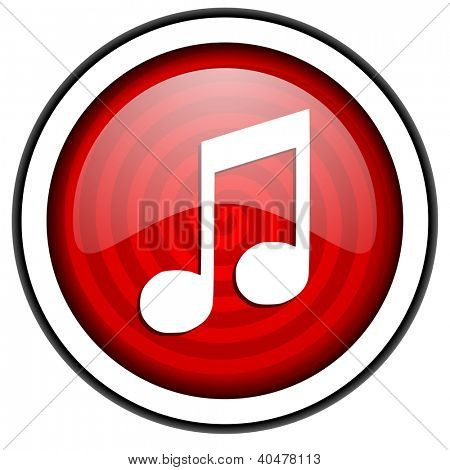 music red glossy icon isolated on white background