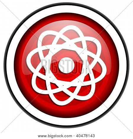 atom red glossy icon isolated on white background