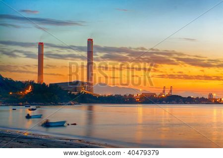 sunset of Petrochemical industry  , power plant