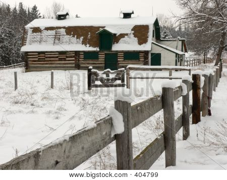Old Barn In Snow