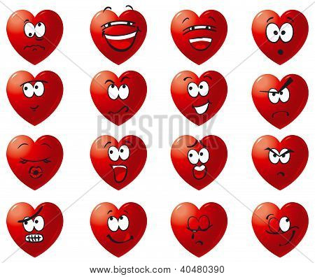 Vector set of hearts icons