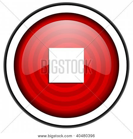 stop red glossy icon isolated on white background