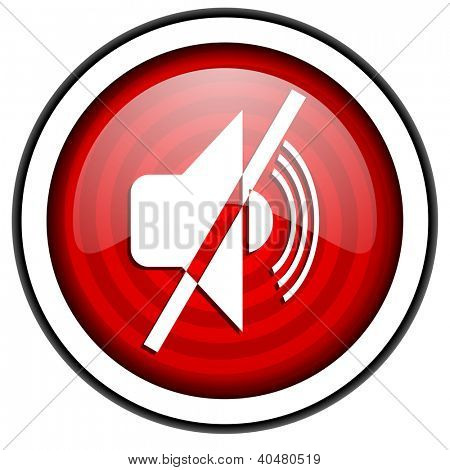 mute red glossy icon isolated on white background