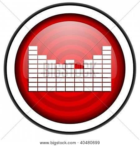 sound red glossy icon isolated on white background