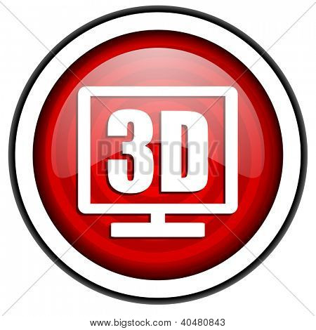 3d display red glossy icon isolated on white background