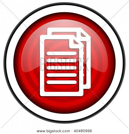 document red glossy icon isolated on white background